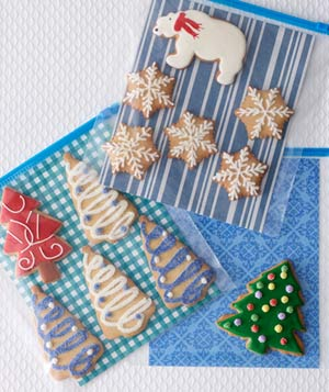 Cookies and wrapping paper in resealable plastic bags