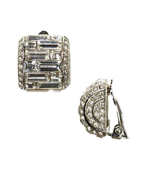 Carolee Lux Crystal Button Clip-On Earrings