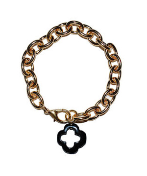 Privileged Small Onyx Clover Gold Bracelet