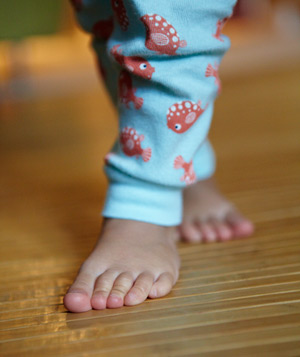 Child's feet in pajamas