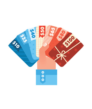 Illustration of hand holding giftcards