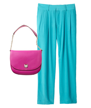 Aqua silk pants and pink bag