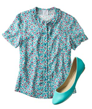 Aqua blouse and flats
