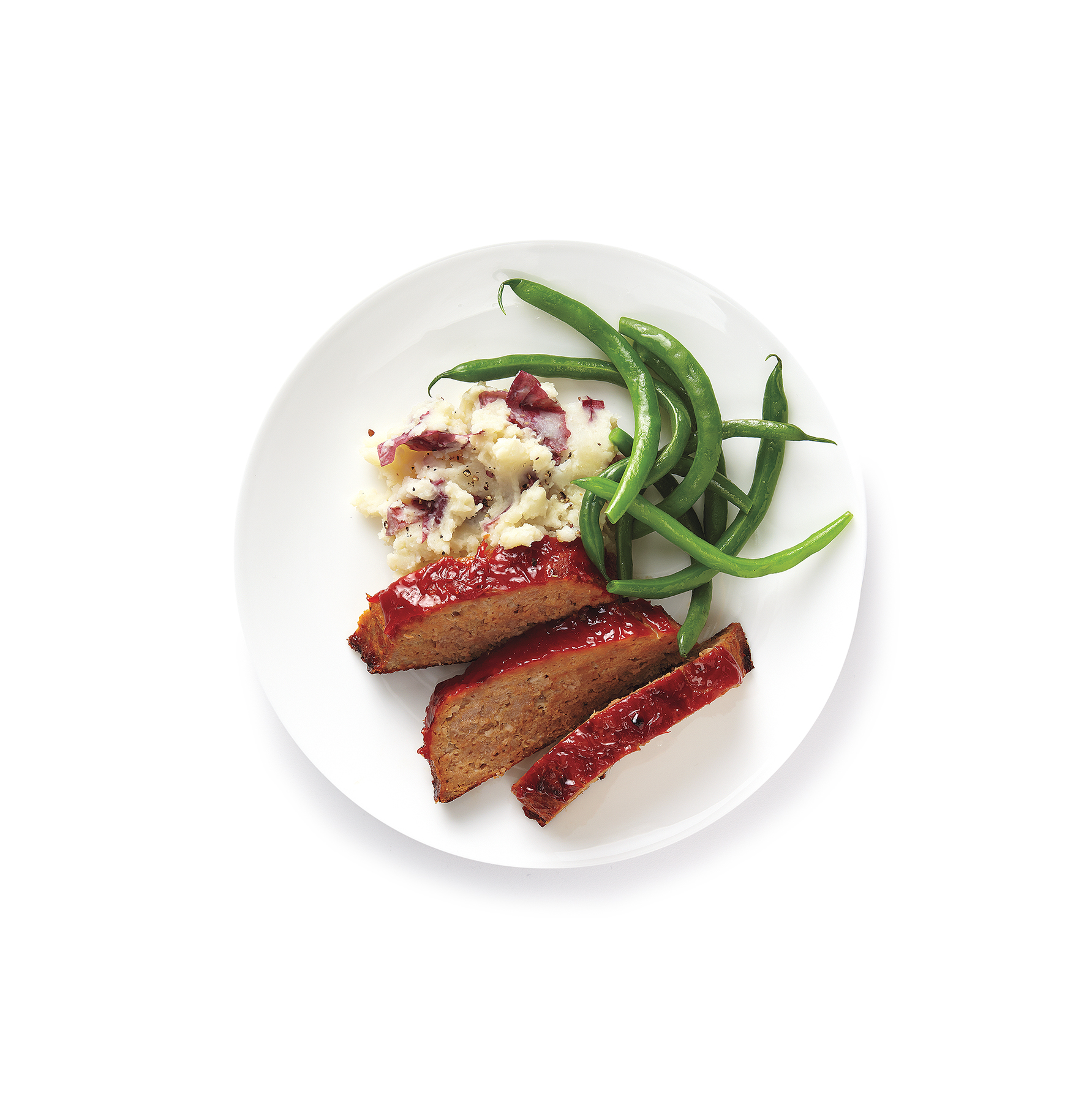 Turkey Meat Loaf With Mashed Potatoes and Green Beans