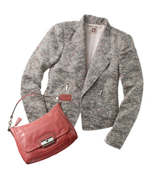 Beige tweed jacket with pink purse