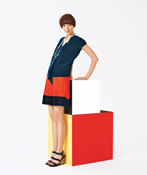 Red pleated Nautica skirt