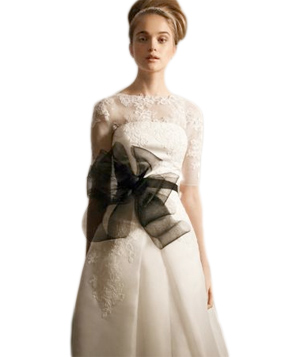 White by Vera Wang Satin Faced Organza Gown With Illusion Piece