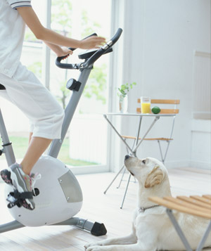 Dog watching woman ride bike