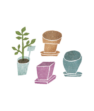 Illustration of plant pots