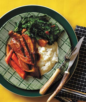 Braised Brisket and Vegetables, Creamy Grits, and Collard Greens With Bacon