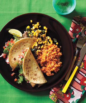 Shredded Pork Tacos With Red Rice and Sautéed Corn