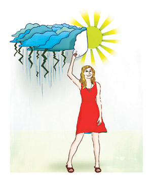 Illustration of a woman under thunder cloud and sun
