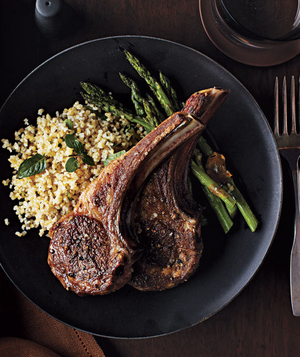 Lamb Chops With Roasted Asparagus and Bulgur Pilaf