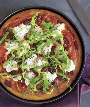 Deep-Dish Sausage, Ricotta, and Onion Pizza With Tangy Romaine