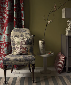 Toile patterned room