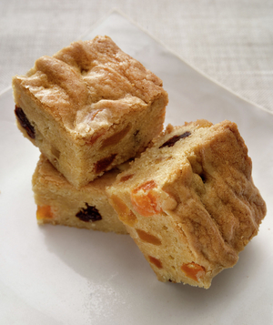 Blondies With Dried Fruit and Candied Ginger