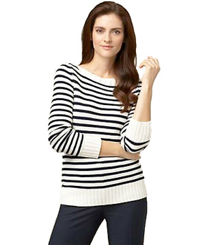 Talbots Sailor Stripe Link-Stitch Sweater