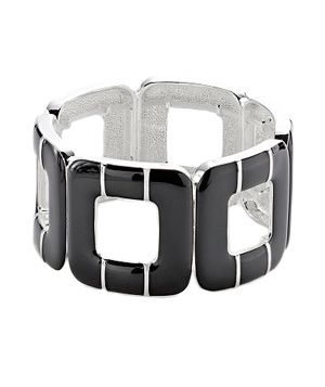 Croft & Barrow Silver Tone Black Enamel Square Stretch Bracelet