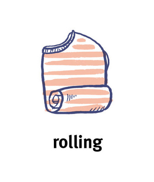 Illustration of a sweater being rolled up