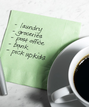 To do list on green napkin