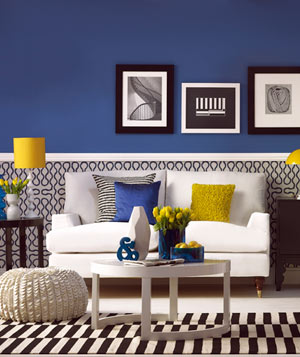 Blue room with yellow, white, and black decor