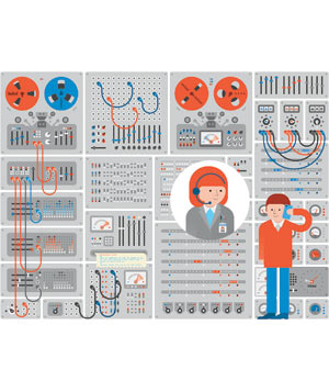 Illustration of Computer Switchboard