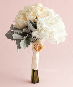 Bouquet of White Hydrangea, Rose, and Dusty Miller Trio