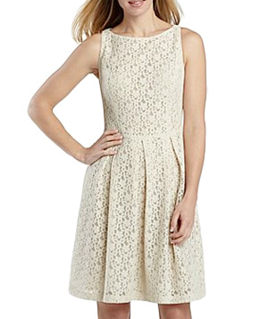 Jones Wear Lace Pleated Full Skirt Dress