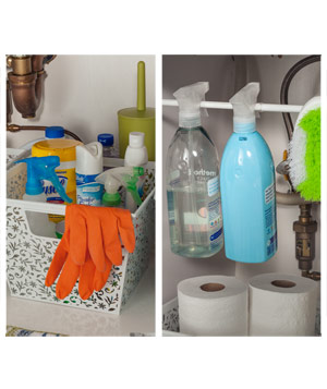 Organized bathroom cleaners under the sink