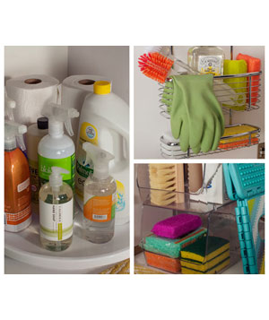 Kitchen cleaning supplies under the sink
