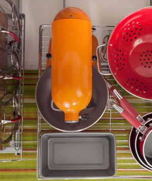 Aerial view of a mixer, pots, and pans