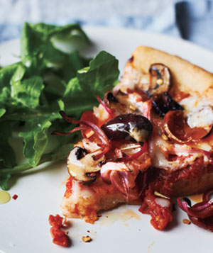Deep-Dish Pepperoni Pizza With Arugula Salad