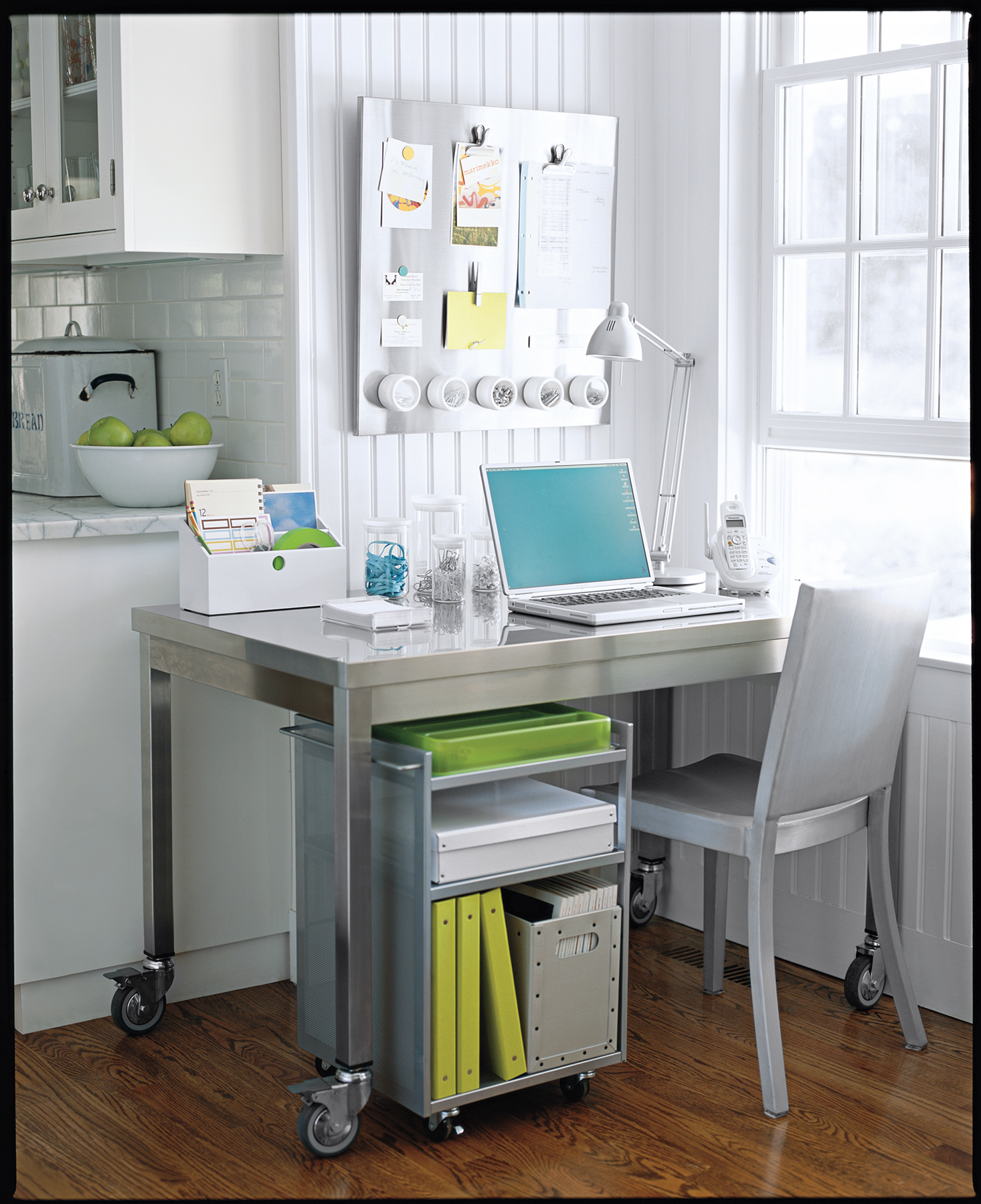 Marvelous Home Office In Corner Of Kitchen