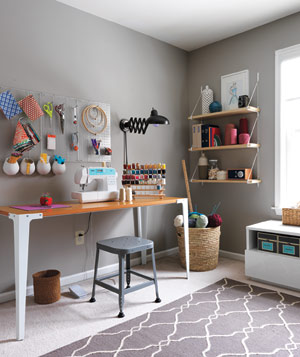 Clean, Organized Sewing Room