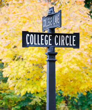 College Circle street sign