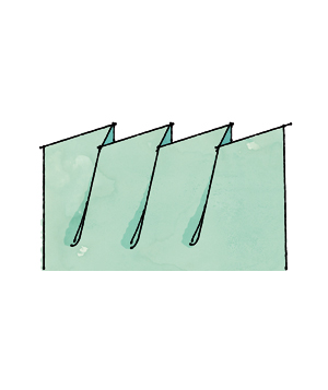 Illustration of a bias pleat