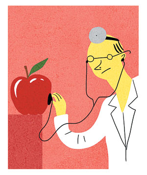 Illustration of a doctor listening to an apple
