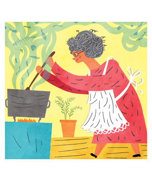 Illustration of an old woman stirring a pot