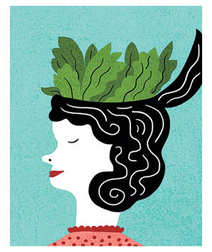 Illustration of a woman with spinach for a brain