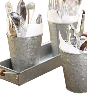 Galvanized Metal Condiment & Tray Set