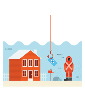Illustration of a scuba diver, house, money, and hook underwater