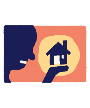 Illustration of Person Holding Toy House