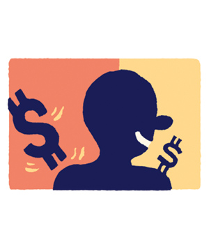 Illustration of Man and Dollar Signs