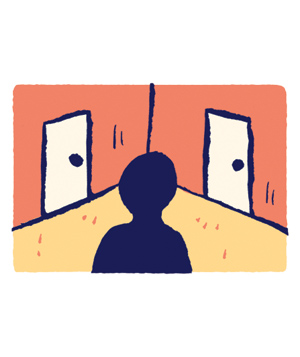 Illustration of Man Standing in a Corner