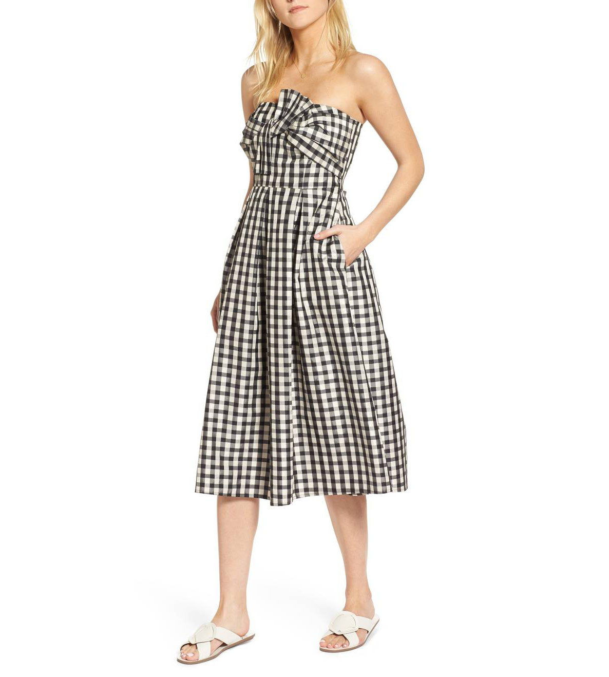 1901 Bow Front Strapless Dress