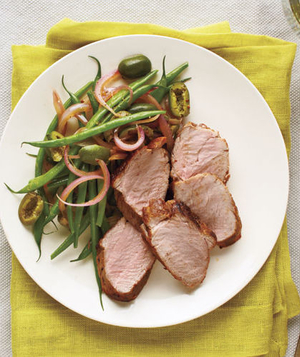 Spiced Pork Tenderloin With Green Beans and Olives