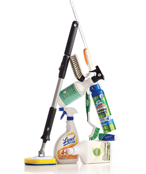 Various bathroom cleaning supplies