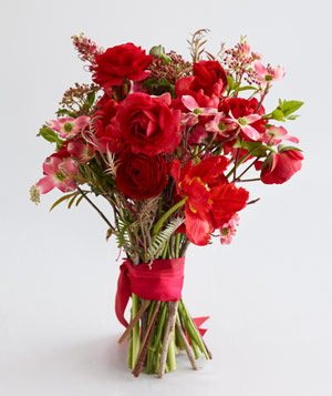 Bouquet of red ranunculus