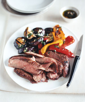 Grilled Flank Steak and Balsamic Vegetables