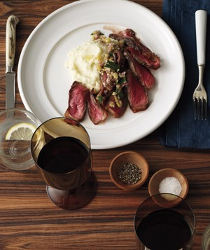 Seared Steak With Cauliflower Puree